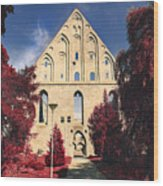 Red Surreal Abbey Ruins Wood Print