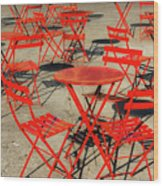 Red Tables And Chairs Wood Print