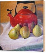 Red Teapot And Pears Wood Print