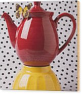 Red Teapot With Butterfly Wood Print
