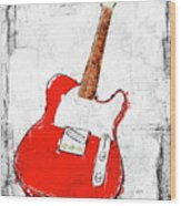 Red Telecaster Fine Art Illustration By Roly O Wood Print