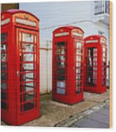 Red Telephone Booths London Wood Print