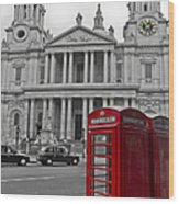 Red Telephone Boxes In London Wood Print