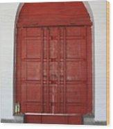 Red Temple Door Wood Print