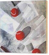 Red Tennis Balls On White Sand Wood Print