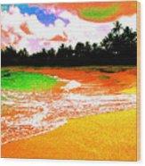 Red Tide Green Tide Wood Print