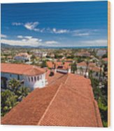 Red Tile Roofs Of Santa Barbara California Wood Print