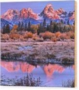 Red Tip Teton Reflection Panorama Wood Print