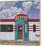 Red Top Diner On Route 66 Wood Print