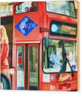 Red Tourist Bus In New York Wood Print