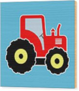 Red Toy Tractor Wood Print