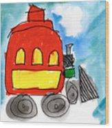 Red Train Wood Print