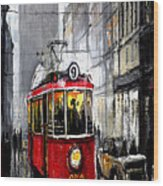 Red Tram Wood Print by Yuriy  Shevchuk