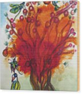 Red Tree And Friends Wood Print