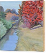 Red Tree and River Wood Print