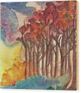 Red Trees Wood Print