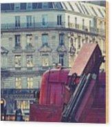 Red Truck In Paris Street Wood Print