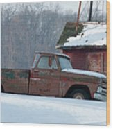Red Truck In The Snow Wood Print