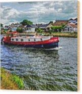 Red Tug Boat Wood Print