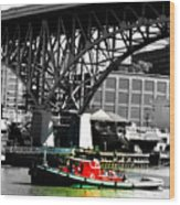 Red Tug On Cuyahoga River Wood Print