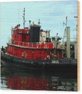 Red Tugboat Wood Print
