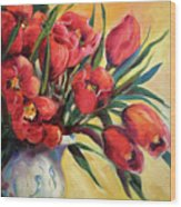 Red Tulip Kiss Wood Print