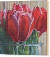 Red Tulips, Glass Rim Wood Print