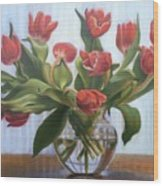 Red Tulips, Glass Vase Wood Print