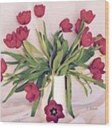 Red Tulips In Full Bloom Wood Print