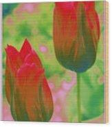 Red Tulips Pop Art Wood Print