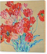 Red Tulips With Gold Background Wood Print