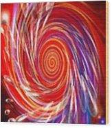 Red Twirl Wood Print