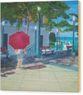 Red Umbrella In San Juan Wood Print