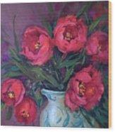 Red Velvet Tulips Wood Print