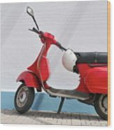 Red Vespa Scooter By Wall Wood Print