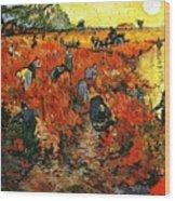 Red Vineyard Wood Print