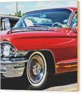Red Vintage Cadillac Wood Print