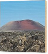 Red Volcano Wood Print