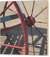 Red Waggon Wheel Wood Print