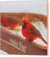 Red Wagon Winter Wood Print