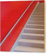 Red Walls Staircase Wood Print