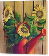 Red Watering Can With  Sunflowers.  Sold Wood Print