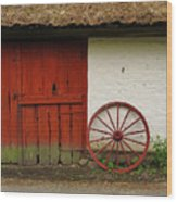 Red Wheel And Barn In Sweden Wood Print