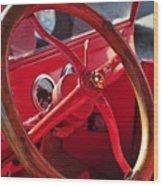 Red Wheel Wood Print