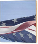 Red White And Blue - American Flag Wood Print