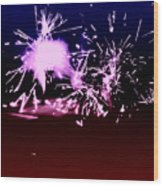 Red White And Blue Fireworks Wood Print