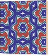 Red White And Blue Star Flowers 1- Pattern Art By Linda Woods Wood Print