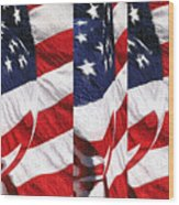 Red White Blue - American Stars And Stripes Wood Print