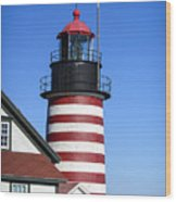 Red White Striped Lighthouse Wood Print