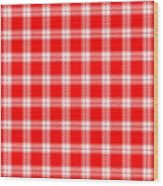 Red White Tartan Wood Print